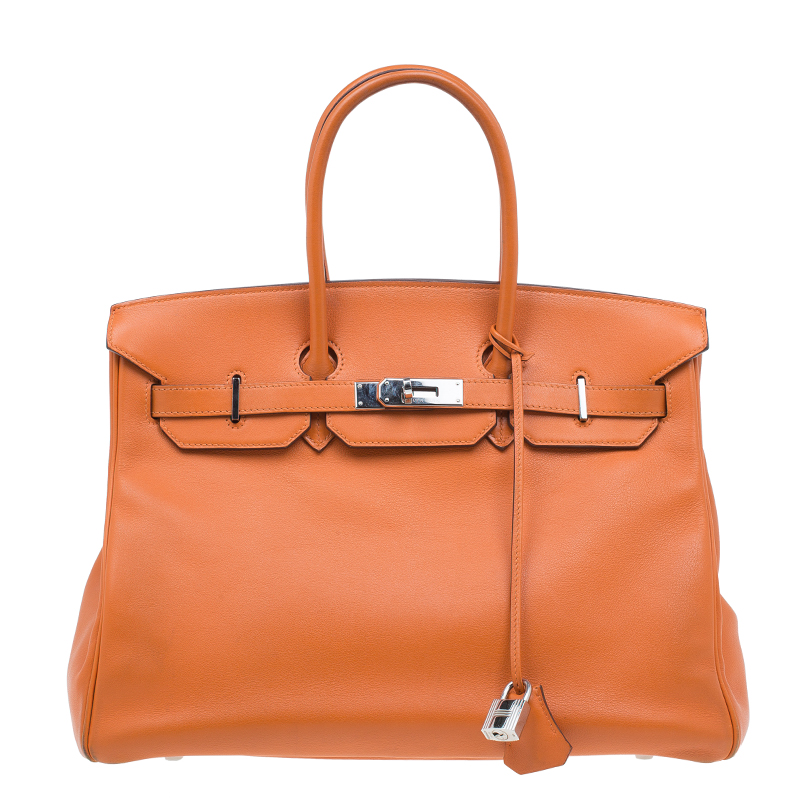 Hermes Orange Swift Leather Palladium Hardware Birkin 35 Bag