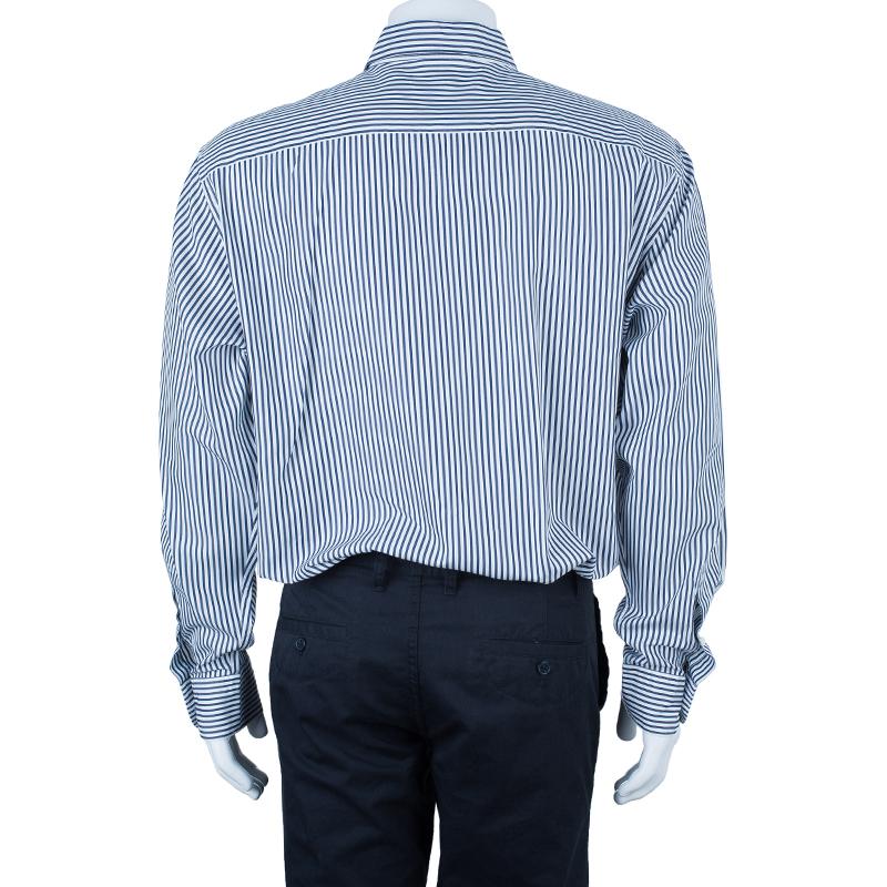Ermenegildo Zegna Men's Pinstripe Monochrome Shirt 3XL