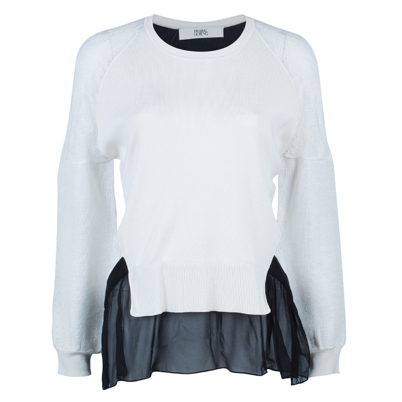 Prabal Gurung Monochrome Lace Top S