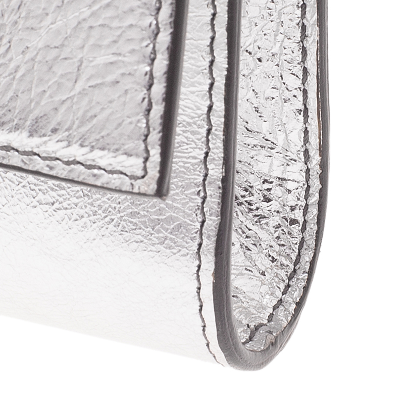 Saint Laurent Paris Silver Patent Belle De Jour Flap Clutch