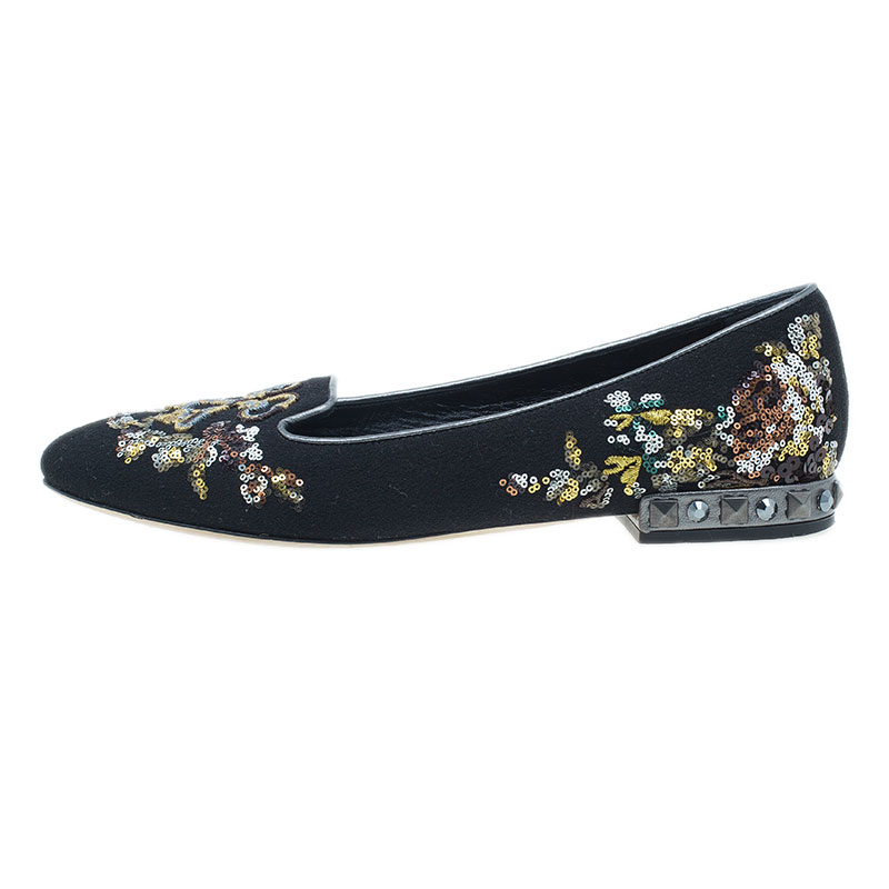 Dolce and Gabbana Black Suede and Sequin Embroidered Smoking Slippers Size 39.5