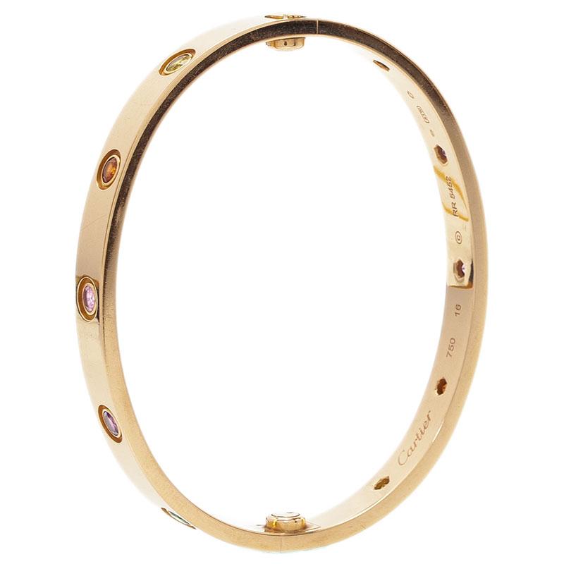 Cartier Love Coloured Stones Rose Gold Bracelet 16 cm
