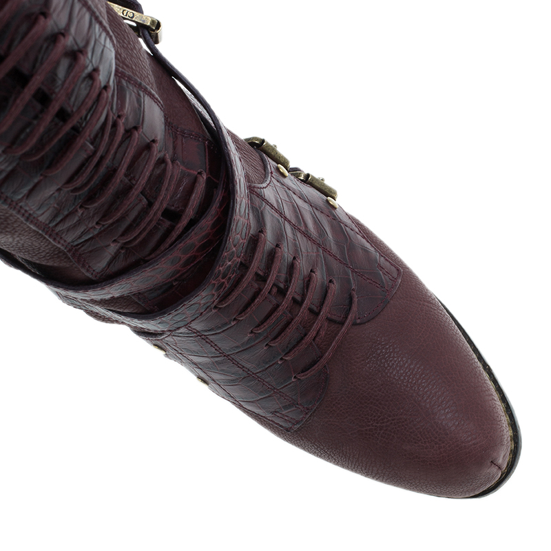 Dior Red Dior Burgundy Leather Over the Knee Boots Size 39.5
