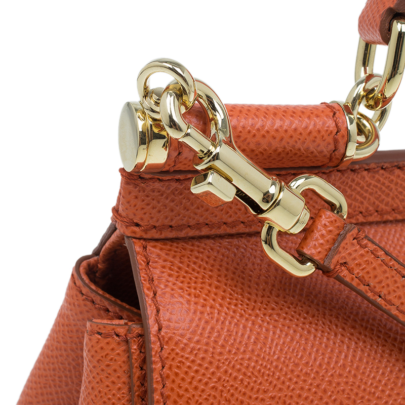 Dolce and Gabbana Orange Leather Small Miss Sicily Tote Bag