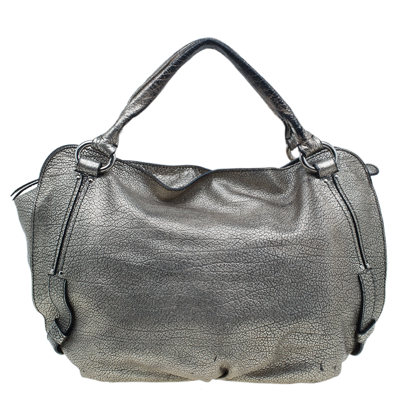 Celine Metallic Silver Leather Large Bittersweet Hobo