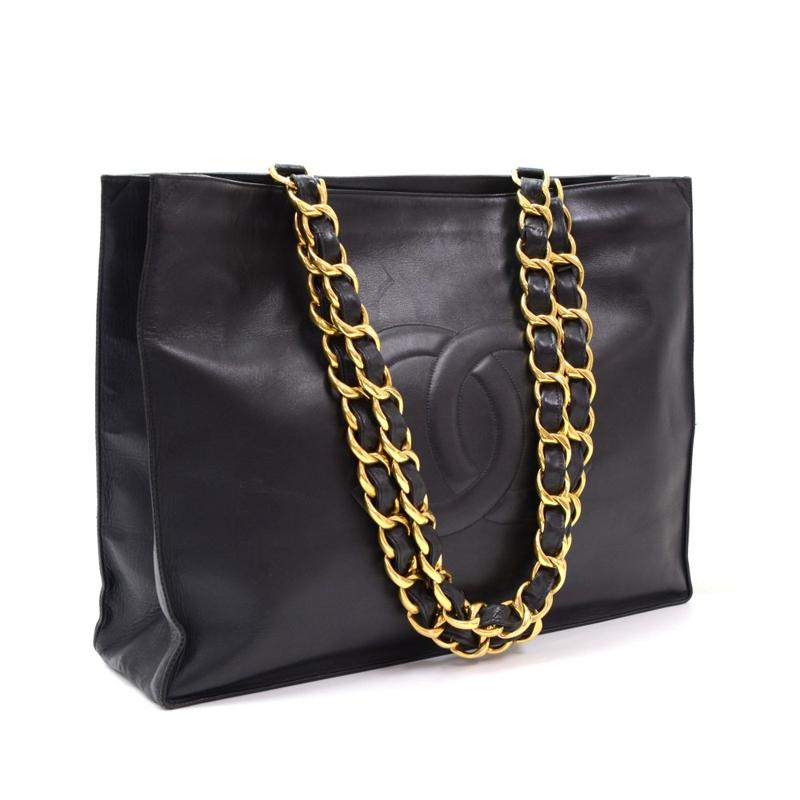 Chanel Black Lambskin Jumbo XL Shopper Tote