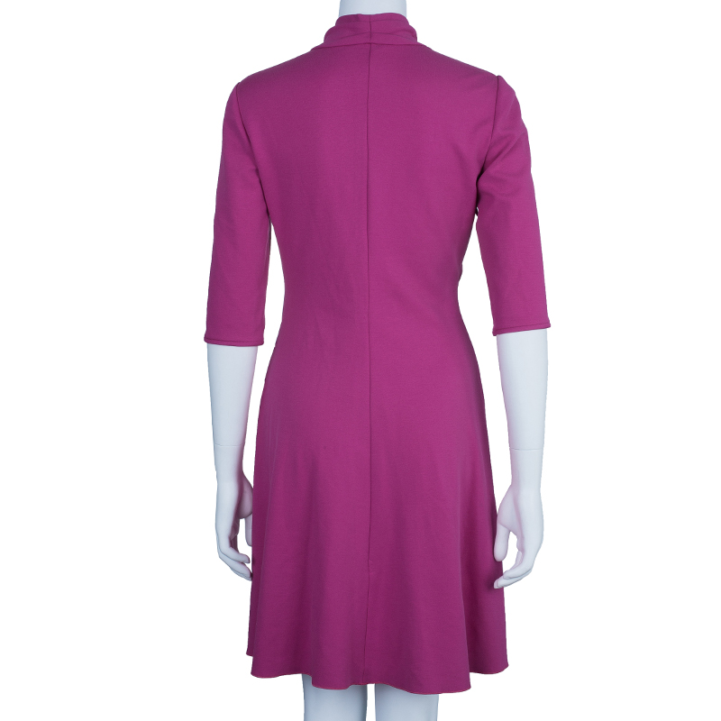 Giorgio Armani Milano Faux Wrap Jersey Hot Pink Dress S
