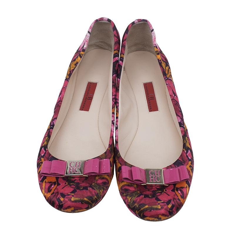 Carolina Herrera Pink Floral Print Bow Ballet Flats Size 39