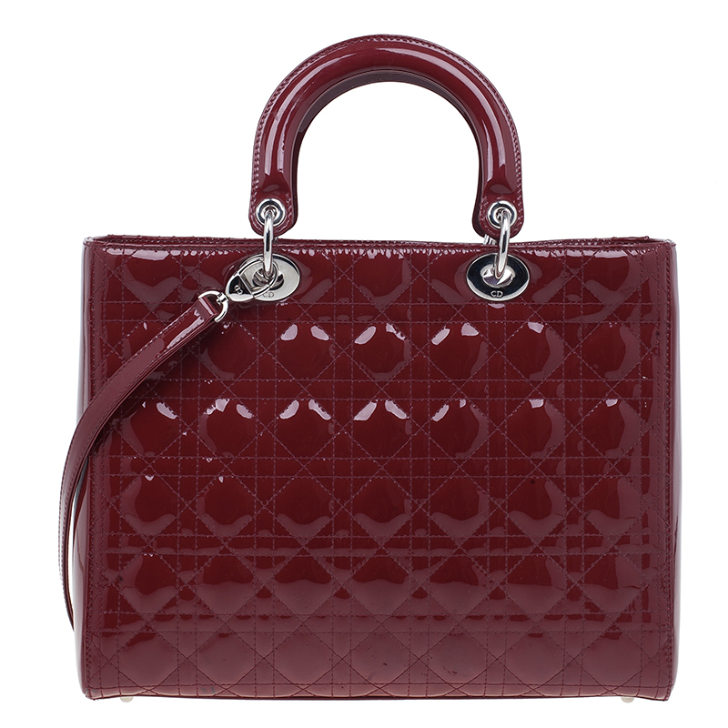 Dior Red Patent Leather Large Lady Dior Tote