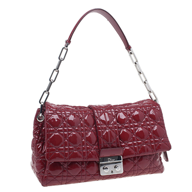 Dior Red Patent Leather Quilted Cannage New Lock Dior Flap Bag