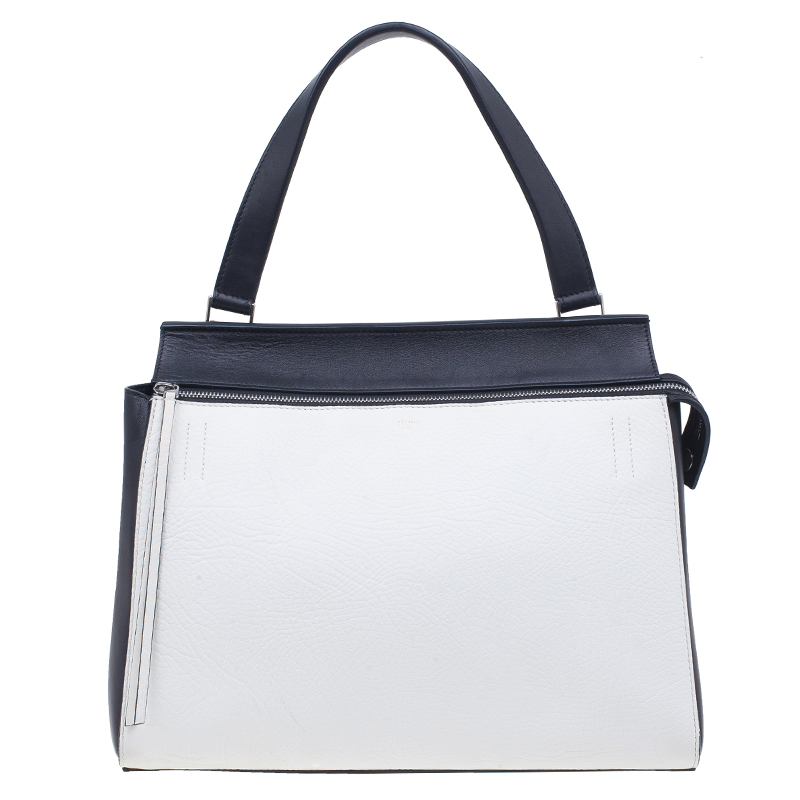 Celine Black & White Calfskin Leather Edge Shoulder Bag