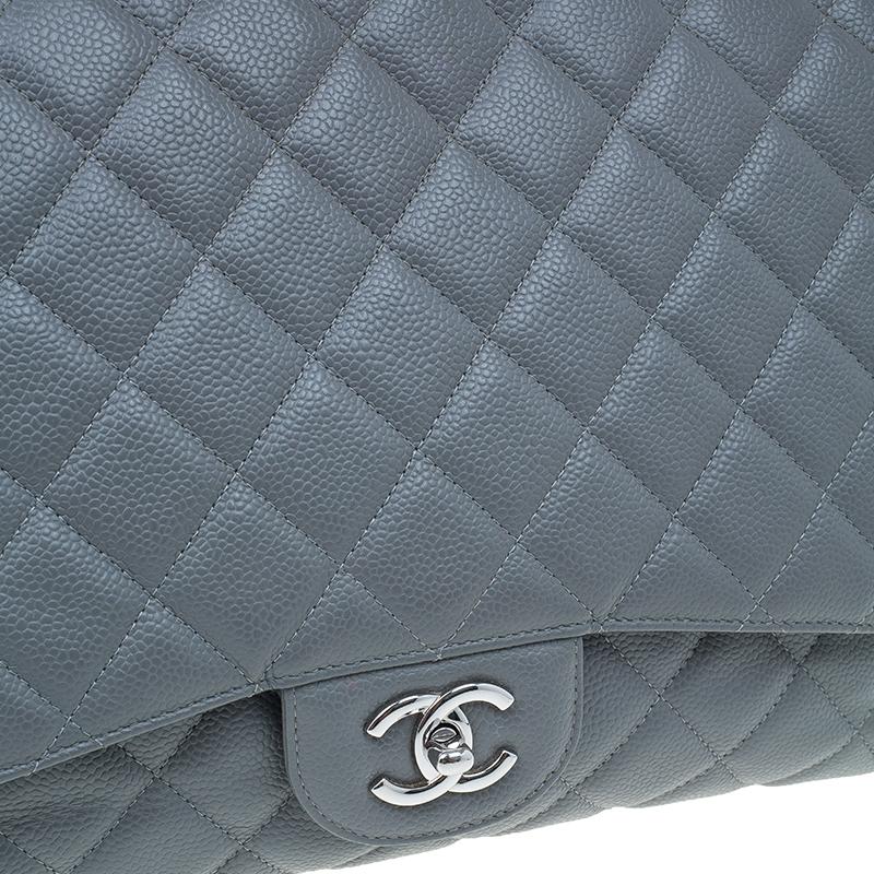 Chanel Grey Calfskin Classic Maxi Flap Bag