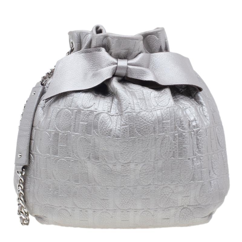 Carolina Herrera Silver Leather Audrey Pouch Bag