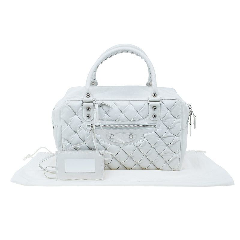 Balenciaga White Leather Matelasse Quilted Bag