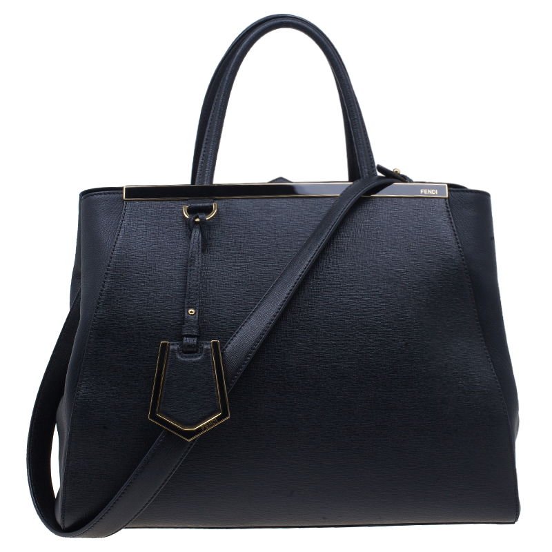 Fendi Black Saffiano Leather 2Jours Tote