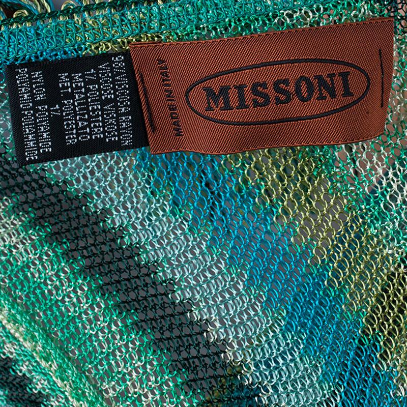 Missoni Blue Striped Knit Fringed Poncho OS