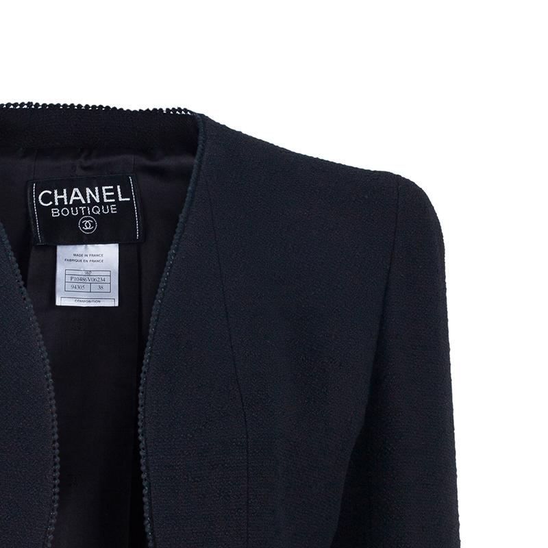 Chanel Black Light Bouclé Skirt Suit M
