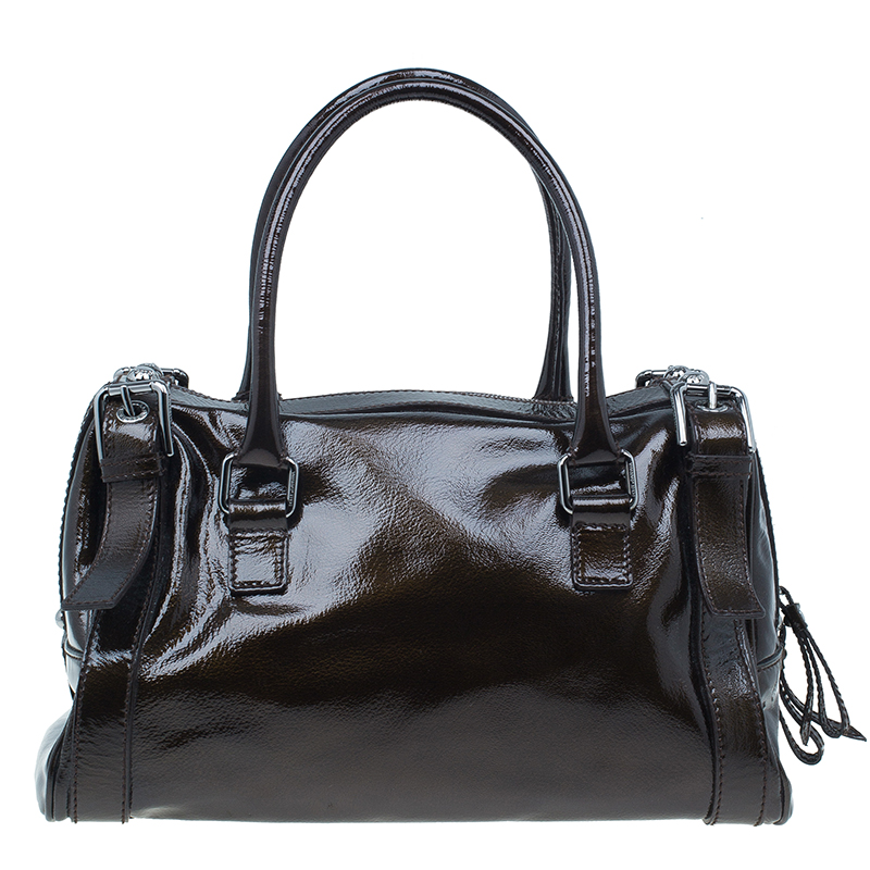 Dolce and Gabbana Brown Patent Miss Easy Way Satchel