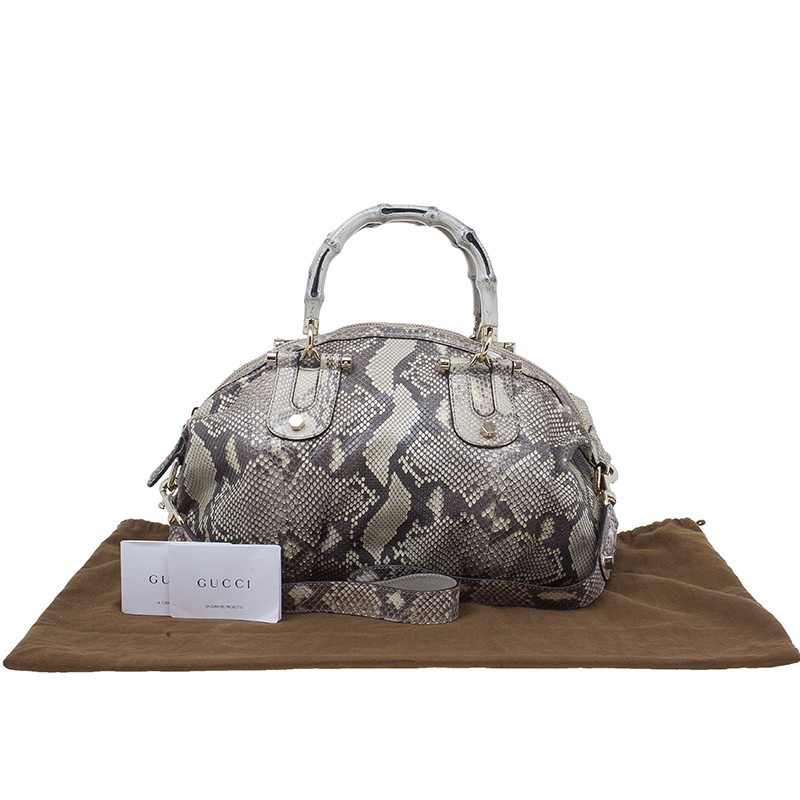 Gucci Cream Python Leather Pop Bamboo Top Handle