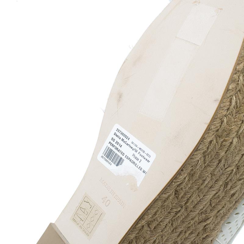 Stella McCartney White Faux Leather Wedge Espadrilles Size 40