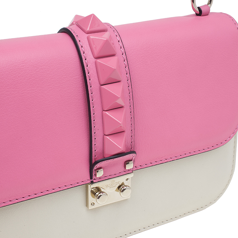 Valentino White and Pink Leather Medium Lock Flap Bag