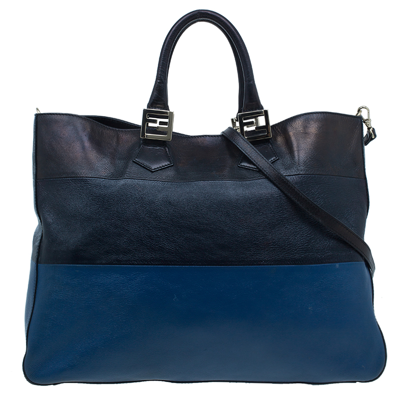 Fendi Tricolor Leather Twins Tote