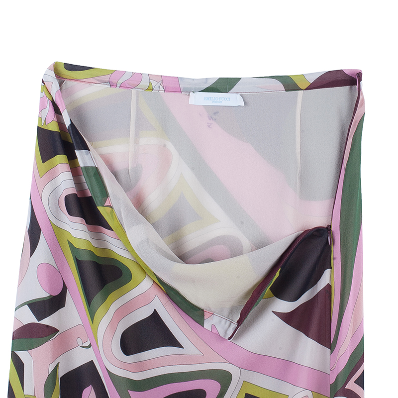 Emilio Pucci Multicolor Abstract Chiffon Top And Skirt Set L