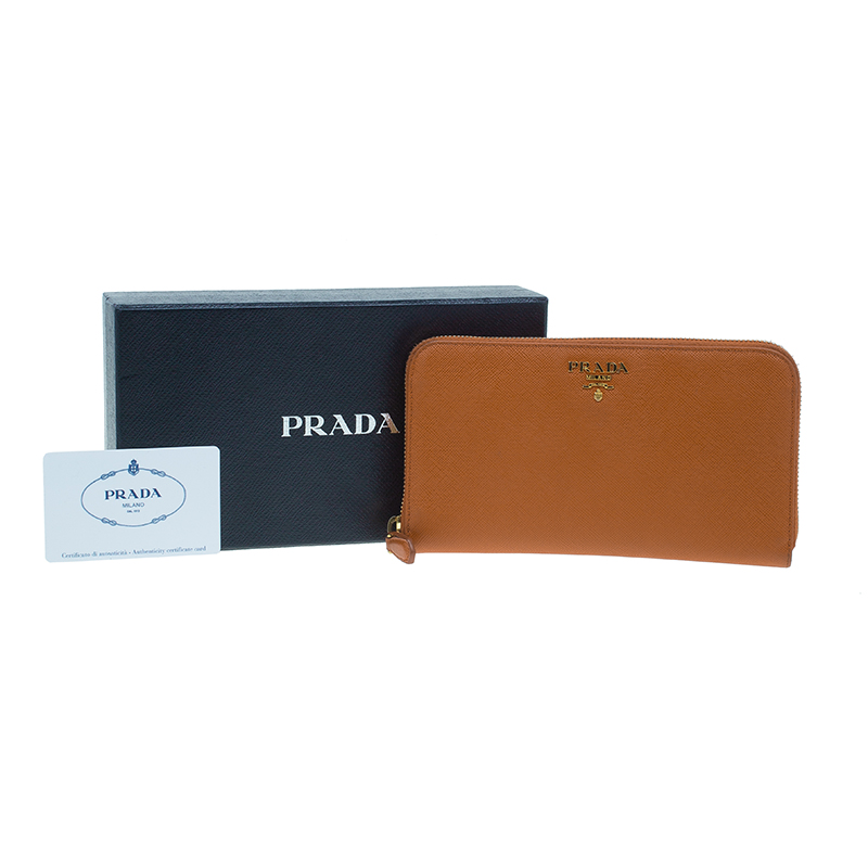 Prada Orange Saffiano Metal Oro Side-Zip Wallet