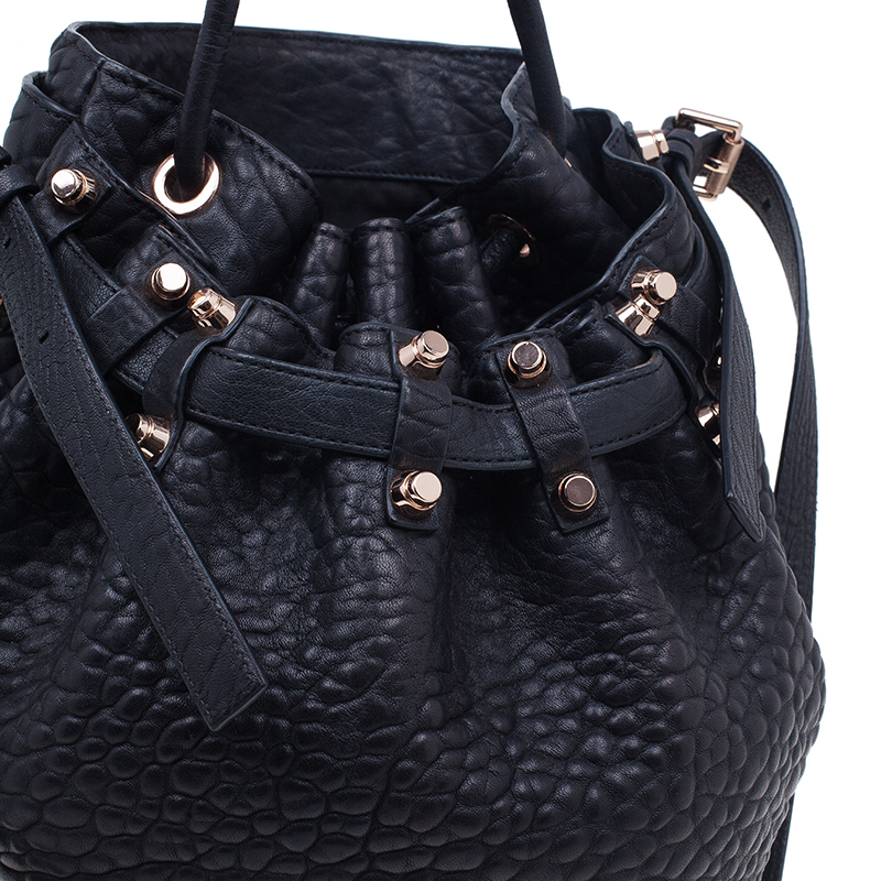 Alexander Wang Black Diego Textured Leather Bucket Bag