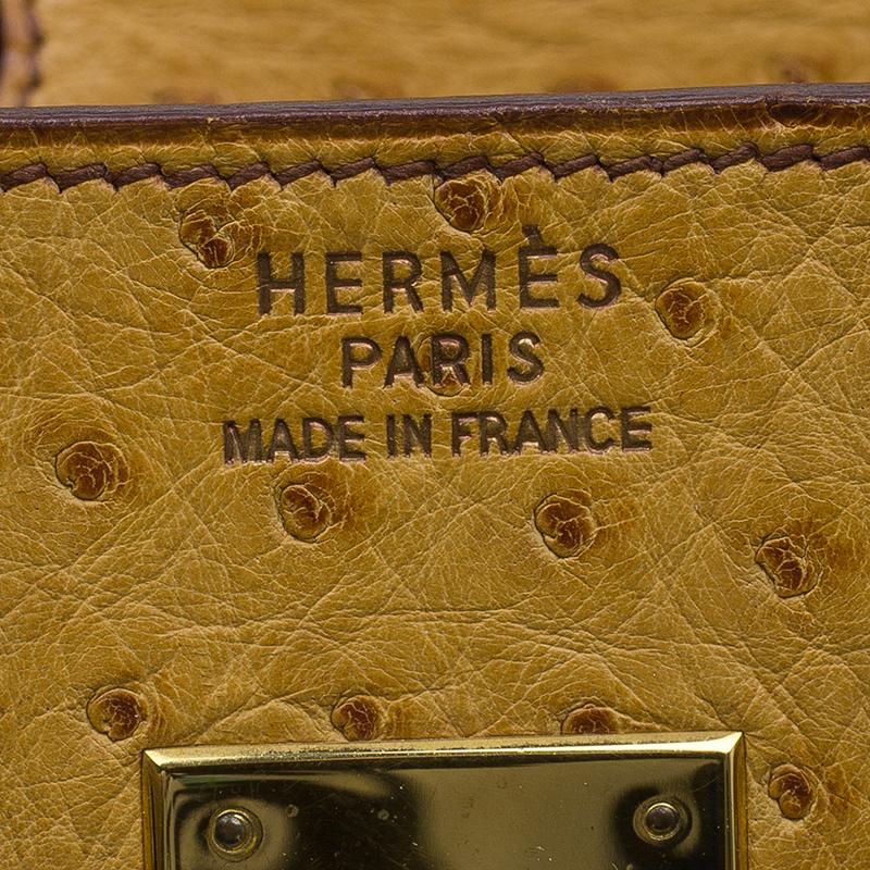 Hermes Saffron Ostrich Birkin Tote 35cm