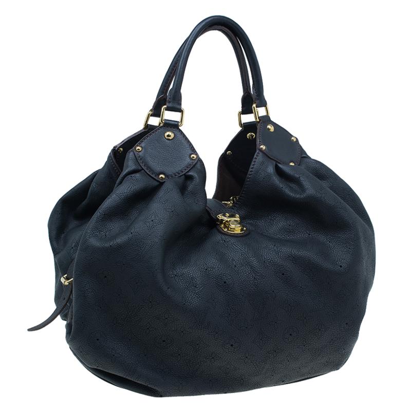 Louis Vuitton Black Perforated Leather Large Mahina Hobo
