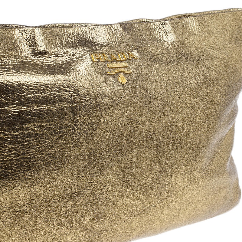 Prada Gold Crackled Leather Oversized Clutch