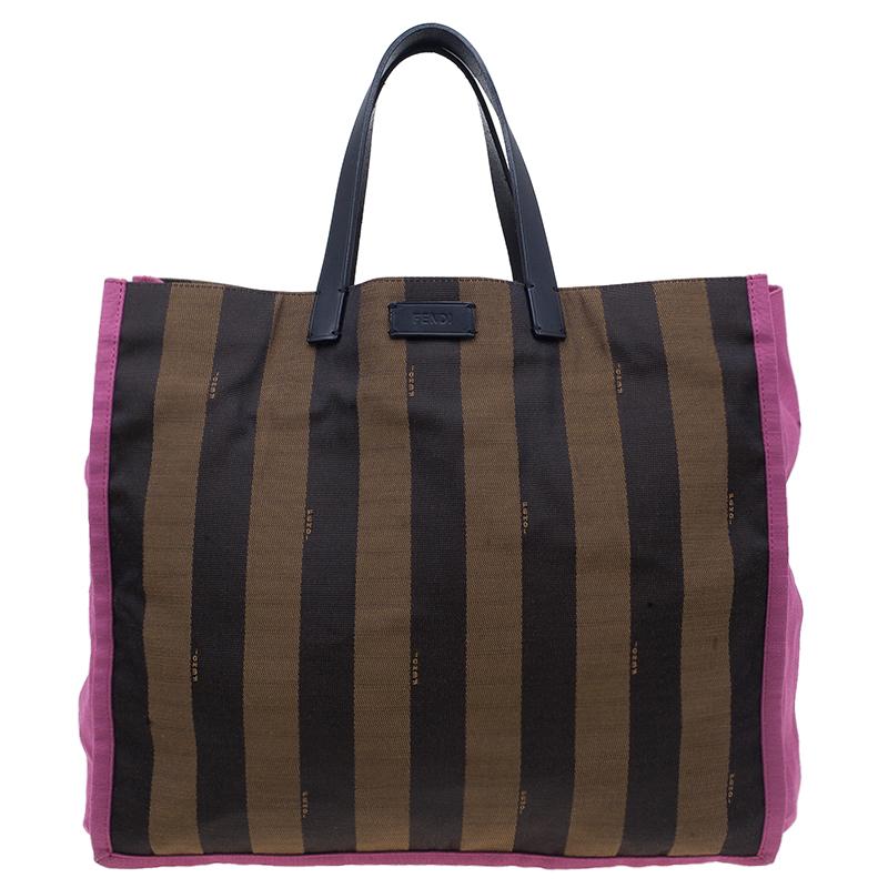 Fendi Brown Pequin Striped Shopper Bag