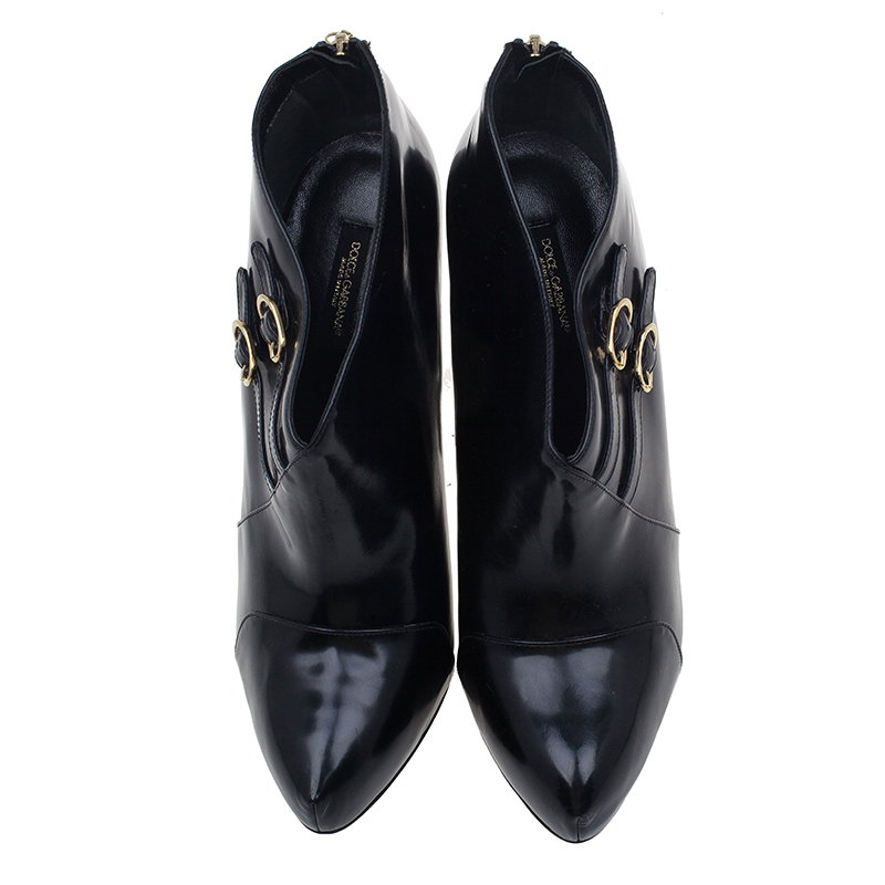 Dolce and Gabbana Black Leather Ankle Boots Size 40