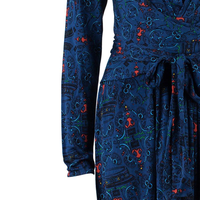 Issa Mock Printed Wrap Dress M