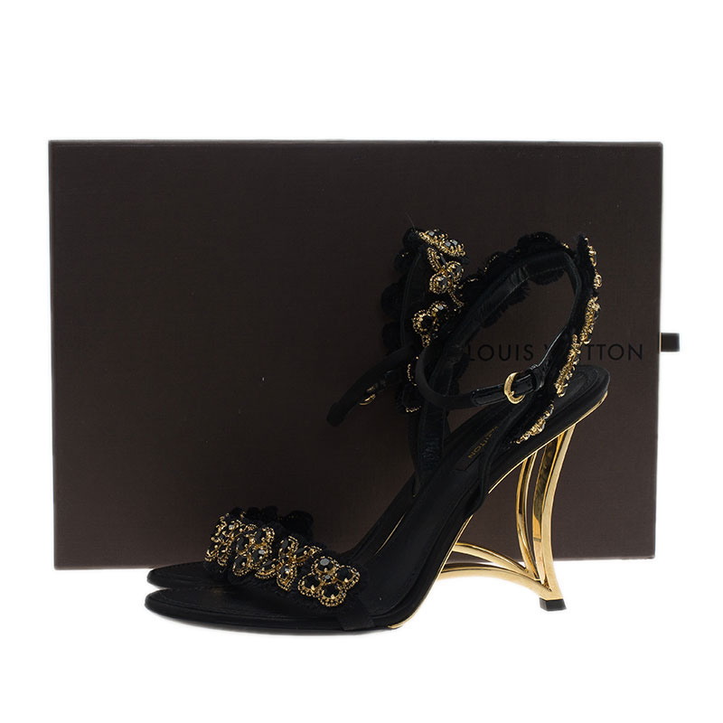 Louis Vuitton Black and Gold Limited Edition Sandals Size 37