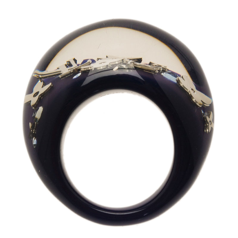 Louis Vuitton Inclusion Night Blue Resin Ring Size 57