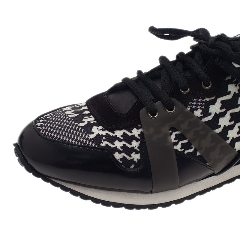 McQ by Alexander McQueen Houndstooth Canvas and Leather Sneakers Size 40