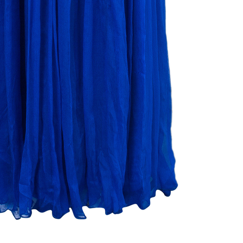 Tadashi Shoji Royal Blue Zardosi Embroidered Chiffon Ruched Dress S