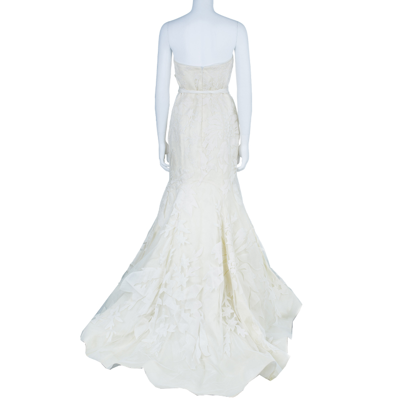 Vera Wang Floral Overlay Wedding Gown L