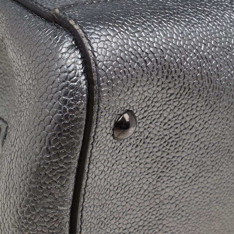 Saint Laurent Paris Metallic Silver Leather Sac 32 Tote