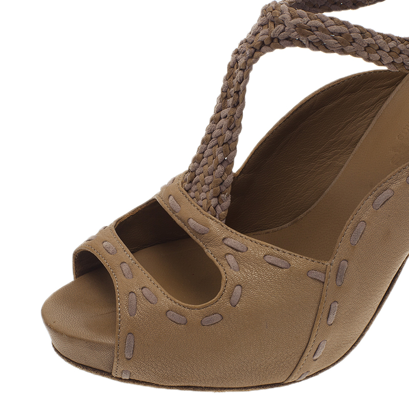 Hermes Brown Leather Braided T-Strap Cutout Pumps Size 36