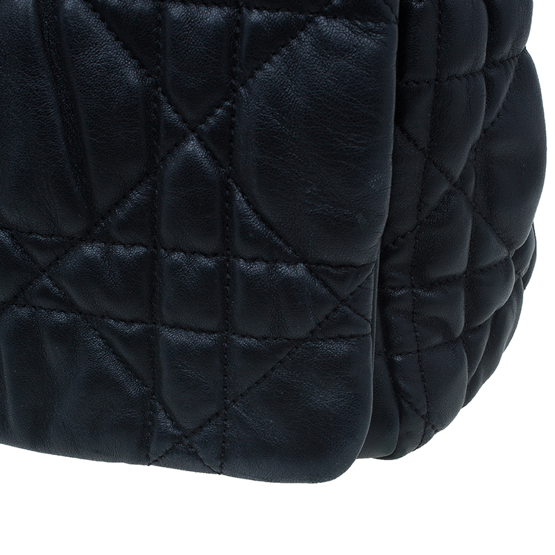 Dior Black Cannage Quilted Lambskin Large Flap Shoulder Bag