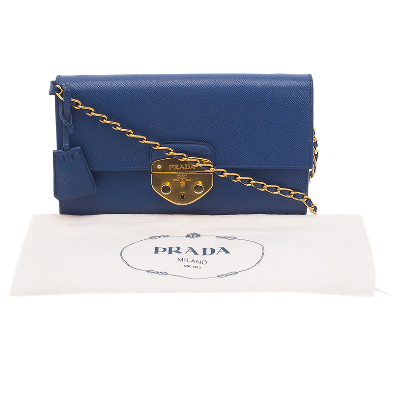 Prada Blue Saffiano Lux Leather Bandoliera Clutch Bag