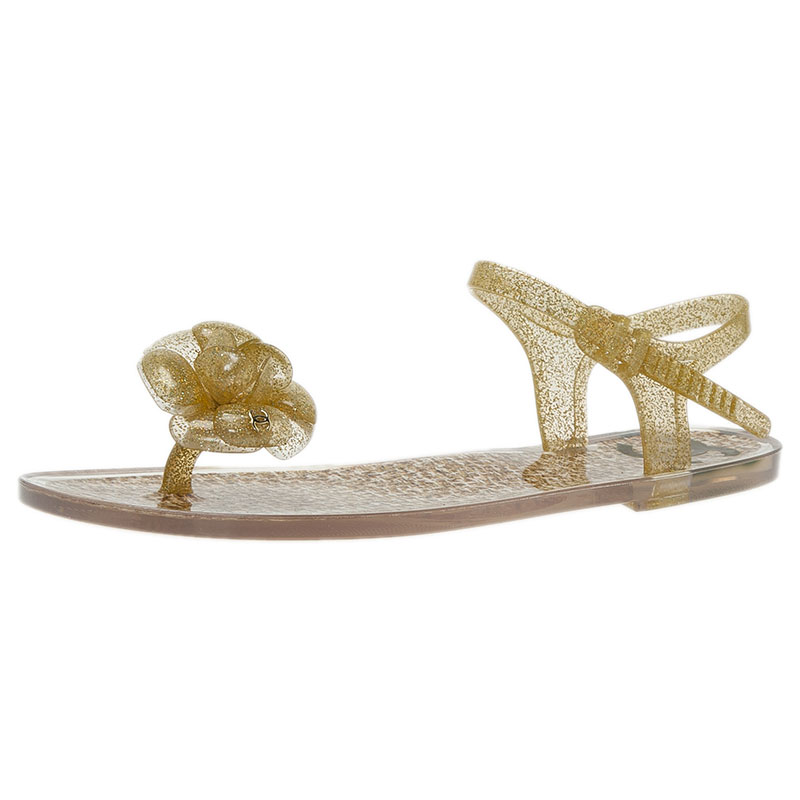 Chanel Yellow Jelly Camellia Flower Sandals Size 39