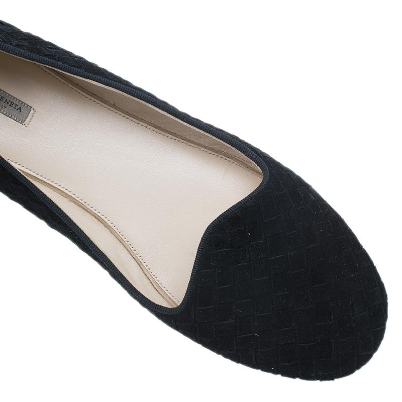 Bottega Veneta Black Intrecciato Suede Carpet Slippers Size 39.5