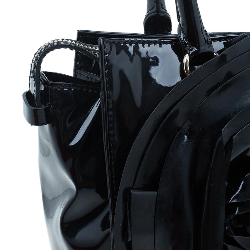 Valentino Black Patent Petale Hand Bag
