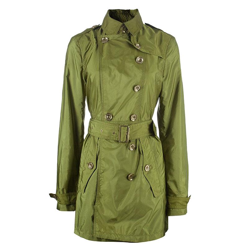 Burberry Olive Green Taffeta Trenchcoat S