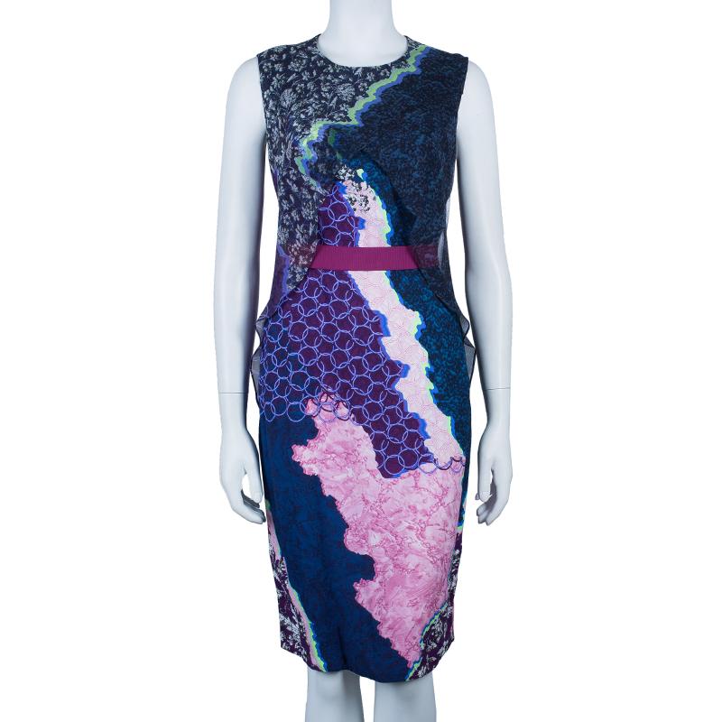 Peter Pilotto Multicolor Print Criss Cross Sleeveless Dress M