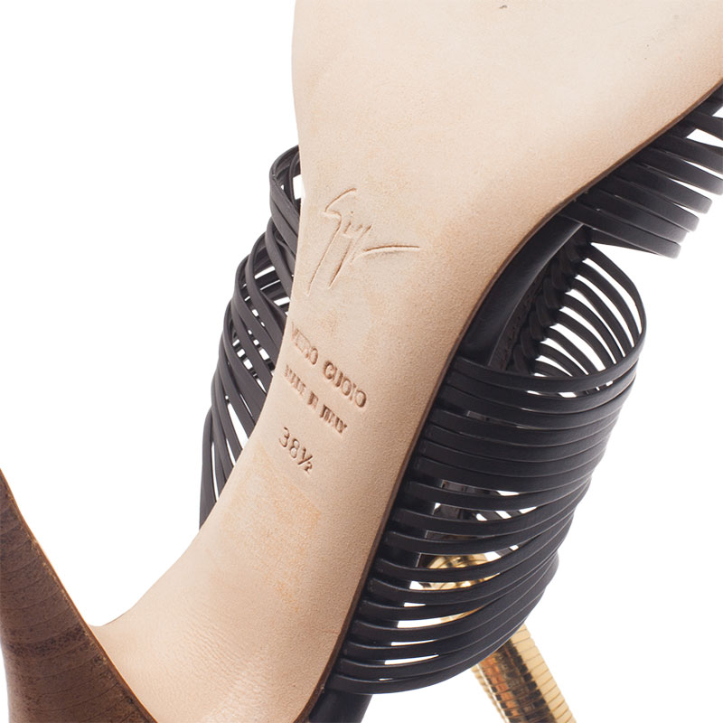 Giuseppe Zanotti Black Leather Caged Chain Strap Sandals Size 38.5